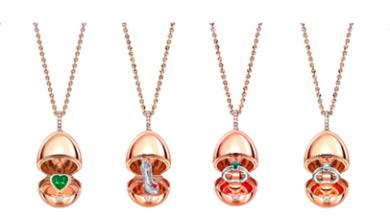 صورة مجموعة قلادات من الذهب الوردي من Fabergé بمناسبة آخر السنة