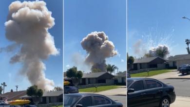 صورة انفجار منزل بسبب الألعاب النارية في أحد الأحياء الأميركية