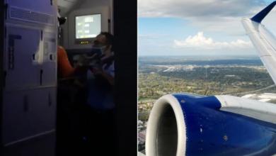 صورة بالفيديو.. مسافر يحاول فتح باب طائرة أثناء تحليقها في الأجواء الأميركية