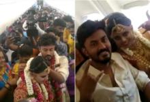 صورة للتحايل على قيود كورونا.. عروسان هنديان يستأجران طائرة لعقد قرانهما